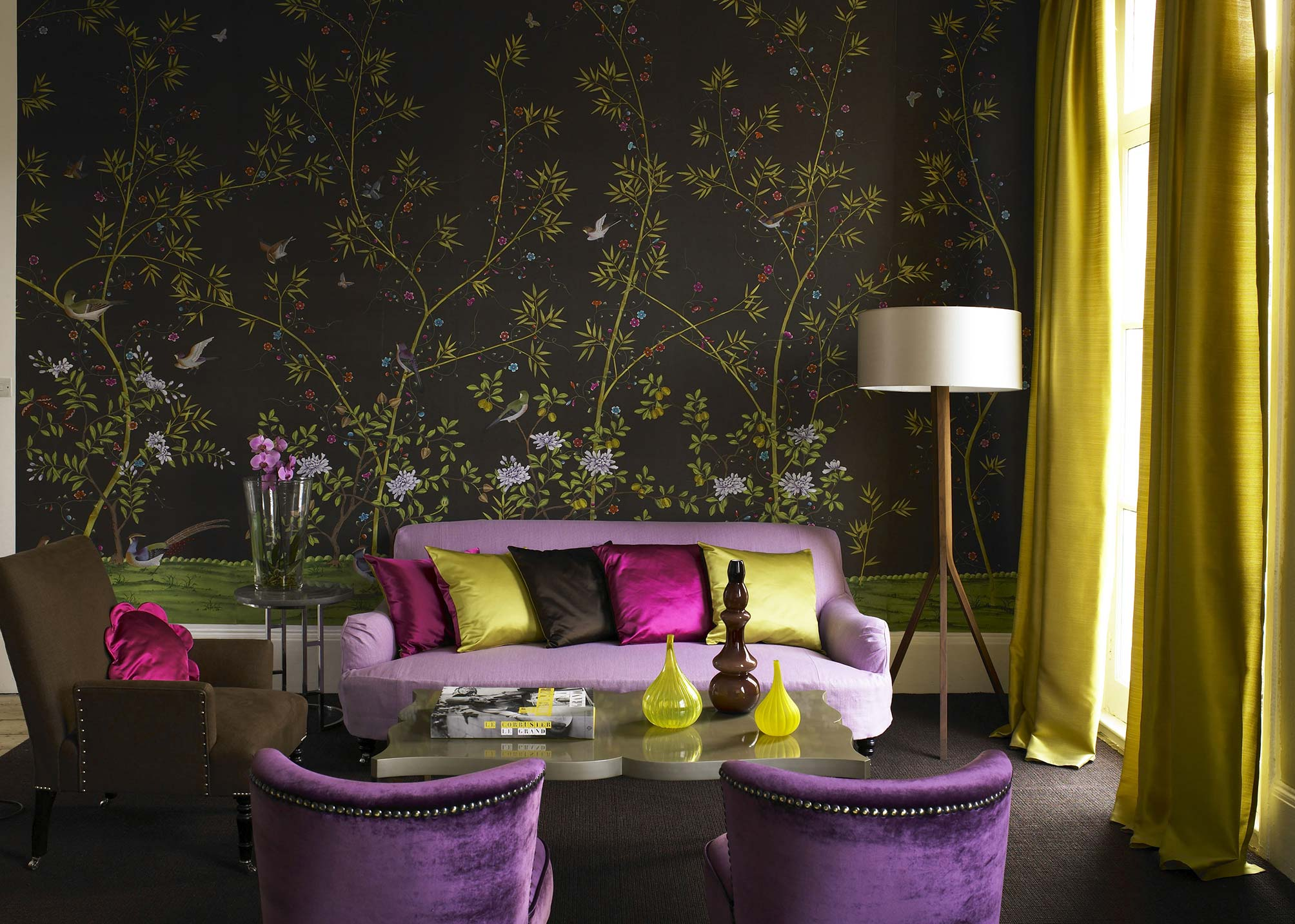 Purple And Green Living Room Decor Installations Chinoiserie Handmade Wallpaper Fromental