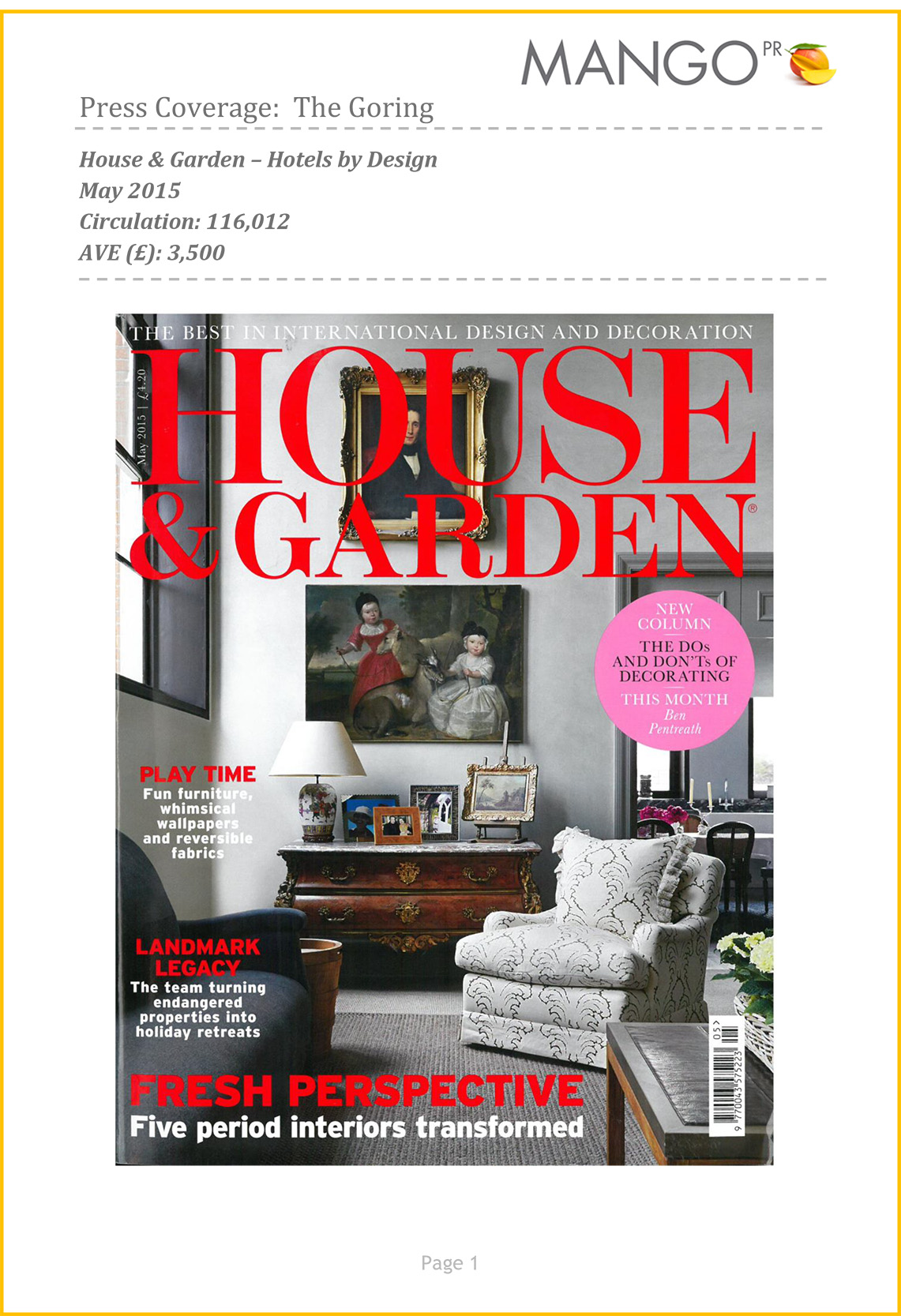 House & Garden, May 2015-cover
